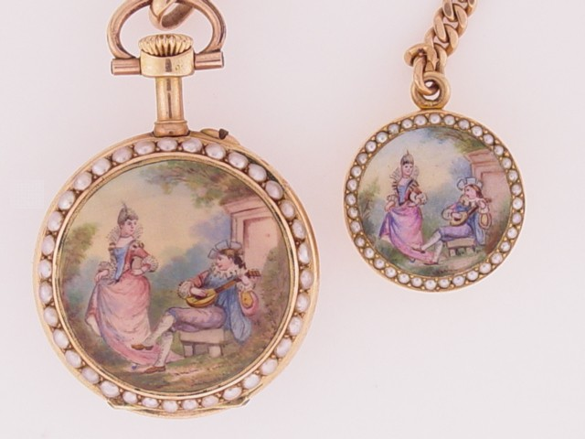 14K and enamel with matching locket